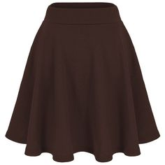 Dani's Choice Basic Solid Stretchy Cotton High Waist A-line Flared... (56 SAR) ❤ liked on Polyvore featuring skirts, mini skirts, high waisted a line skirt, flared skater skirt, a line skirt, a line mini skirt and brown mini skirt