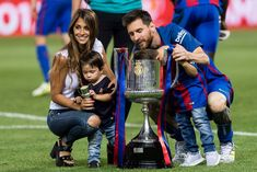 Lionel Andres Messi of FC Barcelona with his sons Thiago and Mateo. Fc Barcelona, Messi And Wife, Lionel Messi Family, Sports Images, Madrid, Sons, Spain, Random, Father And Son