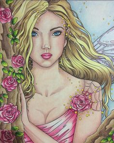 From Selina Fenech's Fairy Magic with prismacolors. Fairy Coloring, Coloring Books, Coloring Pages, Colouring, Fairy Art, Colorful Drawings, Mythical Creatures, Copic, Faeries