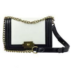 Fineplus Women's Korean Leather Chain Shoulder Handbag White+black fineplus http://www.amazon.com/dp/B00BTVPONW/ref=cm_sw_r_pi_dp_c3aqub14Q8JWY