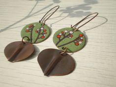 summer bloom  - green circle enamel earrings with a handformed copper leaf hanging