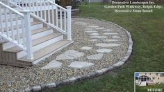 MA Backyard Landscaping photos MA, Outdoor Kitchen MA, MA Outdoor Living Room Ph… - front yard landscaping ideas with rocks Path Edging, Stone Edging, Stone Walkways, Garden Edging, Driveways, Gravel Walkway, Wood Walkway, Walkway Ideas, Front Walkway