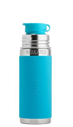 Pura 9 OZ / 260 ML Stainless Steel Insulated Kids Sport Bottle with Silicone Sport Flip Cap  Sleeve, Aqua (Plastic Free, Nontoxic Certified, BPA Free) *** Read more reviews of the product by visiting the link on the image.