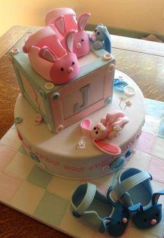 bunny slippers baby shower cake