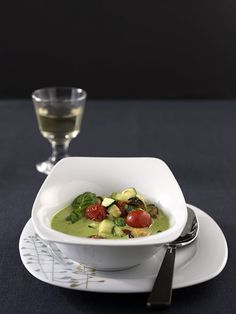 Muschelsuppe mit Pesto Zucchini, Panna Cotta, Strawberry, Pudding, Fruit, Ethnic Recipes, Desserts, Food, Pesto Recipe