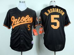MLB BALTIMORE ORIOLES #5 B.ROBINSON BLACK&ORANGE NUMBER JERSEY FJ