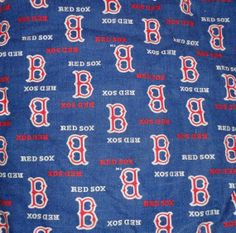 Red Sox cotton fabric 6 pc blue mirror background material scrap remnant