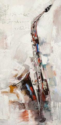ilxe1028 - schilderij saxofoon 60x120 Music Painting, Art Music, Mundo Musical, Contemporary Jazz, Acrylic Painting For Beginners, Arte Pop, Art Abstrait, Art Graphique, Art And Architecture
