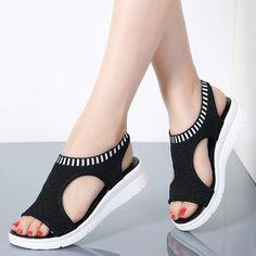 Flat Sandals, Wedge Shoes, Shoes Heels, Sandals 2018, High Heels, Summer Wedges, Summer Shoes, Summer Sandals, Back Strap Heels