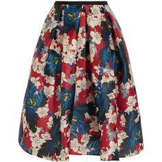 Erdem Ina floral-print silk-gazar skirt ($520) ❤ liked on Polyvore featuring skirts, red, floral knee length skirt, red pleated skirt, floral pleated skirt, flower print skirt and below knee skirts