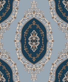 Damask pattern drawing 2400 pixel