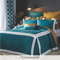 Embrace the geometric print trend with our ultra-chic and modern Fiji bedding sets. Bold teal, zesty chartreuse, crisp white and soft grey come together to create the perfect colour palette to give your space a luxe, warm feeling. Plus, the Fiji collection is completely coordinated – right down to the sheets – so you can find everything you need to create the bedroom of your dreams. Fiji, Your Space, Bedding Sets, Comforters, Crisp, Dreaming Of You, Palette, Teal, Dreams