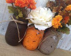 Pint Mason Jars,Fall Decor,Thanksgiving,Painted Mason Jars,Rustic Wedding Centerpieces,Baby Shower Decoration,Flower Vases,Rustic Home Decor