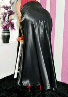 "Holy F""""k! Love this Satin skirt Satin Gown, Satin Skirt, Satin Dresses, Sexy Dresses, Dress Skirt, Long Leather Skirt, Black Leather Skirts, Arab Girls Hijab, Girl Hijab"