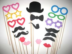 Colorful Photo Booth Props  Classic Collection  by TheManicMoose, $23.00