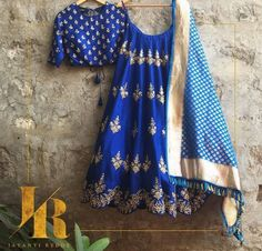 Royal Blue Silk Embroidered Lehenga By Jayanti Reddy