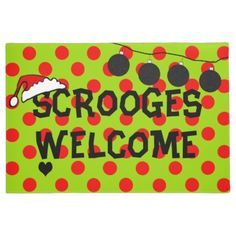 Scrooges Welcomed Holidays Front Door Mat - red gifts color style cyo diy personalize unique