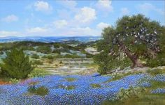 W A Slaughter 1923 2003 Bluebonnets Over Texas Hills - Southwest Gallery: Not Just Southwest Art.