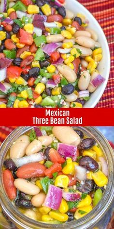 A lovely Summer dish, this Mexican Three Bean Salad is bright, colorful, and a refreshing dish- best serve cold. Bound to be the hit at any pot luck or barbecue, this stellar side dish also make a light, but filling meatless main meal when the weather gets warm. #healthy #beansalad #vegetarian #protein #sidedish #lunch #mexican