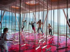 The play tower and playground at Swarovski Kristallwelten (Crystal Worlds), in…