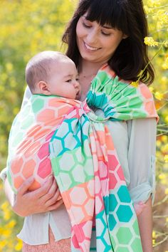 Tula Wrap Conversion Ring Sling- Hexadot Sherbert - Cute as a Button Baby Boutique - 1