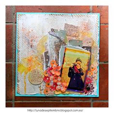 scrapbook; LO; mixed media; flores, Neocolors; textura