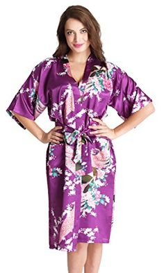 Aibrou Womens Robes Peacock and Blossoms Kimono Satin Nightwear Long Style * Click on the image for additional details.