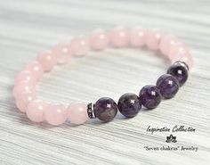 Rose quartz bracelet|Bead Bracelet Women|Gift|for her|Womens gift|Womens bracelet|Gemstone Bracelet|Rose quartz Jewelry|Amethyst bracelet → The jewelry I make with inspiration and lots of love ♥ you can be sure that they will bring you only positive energy and good mood ☼♪:) → IMPORTANT To select the bracelet size, measure wrist with measuring tape, but if you dont have one use a ordinary thread and compared to a ruler. Add to your wrist size 0.15 - 0.25 inches for a comfortable fit and…