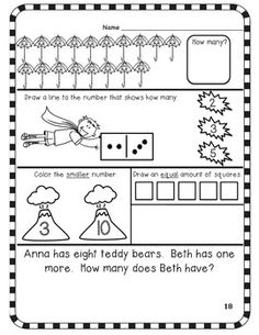 Kindergarten September Math Journal - Common Core