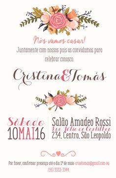 Arte para convite de casamento floral. Acompanha arte do individual. Apenas R$ 32,85