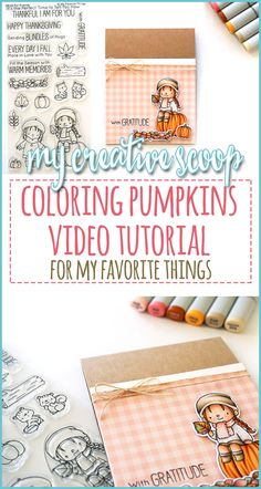 Coloring Pumpkins Video Tutorial for My Favorite Things Copic Marker Drawings, Copic Sketch Markers, Marker Art, Copic Markers Tutorial, Fall Friends, Colored Pencil Tutorial, Free Coloring Pages, Coloring Tips, Coloring Tutorial