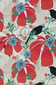 Live life by your own design! Fabulous Retro Wallpaper, stunning Designer Wallcoverings, fantastic Vintage Wallpaper - the ultimate in style in our. Art Floral, Motif Floral, Floral Prints, Retro Wallpaper, Flower Wallpaper, Pattern Wallpaper, Textile Patterns, Textile Prints, Print Patterns