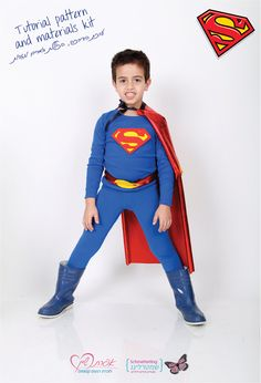 Superman costume how to diy s shield cape boots and belt merged kids superman diy costume kit tutorial pattern and materials 1850 via etsy solutioingenieria Image collections