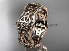 So cute white gold celtic trinity knot engagement ring, wedding band Celtic Engagement Rings, Celtic Wedding Rings, Custom Wedding Rings, White Gold Wedding Bands, Engagement Wedding Ring Sets, White Gold Rings, Blue Wedding, Celtic Spiral, Celtic Trinity Knot