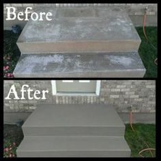 Concrete Porch Painting Ideas - Front Stairs Needed To Be Redone Valspar Cement Porch Paint 7 Ways To Add Character To A Concrete Porch Concrete Porch Before And After Of Cement Porc. Concrete Patios, Concrete Front Steps, Cement Steps, Precast Concrete, Concrete Houses, Front Stairs, Front Doors, Garage Stairs, House Stairs