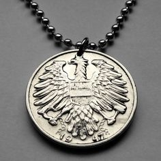 1946 or 1947 Austria 1 Schilling coin pendant Austrian EAGLE necklace coat of arms escutcheon sickle hammer Österreich Vienna Sower n001622 by coinedJEWELRY on Etsy
