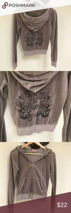 "Juicy Couture Velour Jacket Light gray with black ""Juicy Wanted By All"" logo writing on back. Juicy Couture Jackets & Coats"
