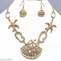 Chunky Gold Tone Nautical Theme Shell Starfish Statement Necklace & Earrings Set