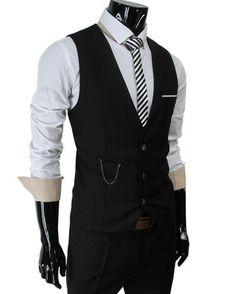 Mens slim sit chain point 3 button vest (viaTHELEESSHOP)