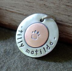 For Rosie - Dog ID tag personalized mixed metal tag Sealed with by DoggoneTags, $16.00