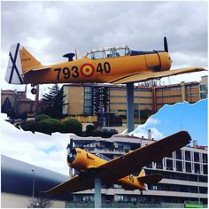 Avión T6 Texan cedido por la Academia Básica del Aire como símbolo de los lazos que unen a la aviación militar con la ciudad de #León #zonaErasLeón #leonesp #España #sensituris #turexperiencias #avión #AcademiaBásicaDelAire #ABA #EsculturasDeLeón #escultura #UnDescansoEnElCamino #peregrino