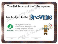 Girl Scout Bridge to Brownies Certificate by maxandotis on Etsy, $5.00