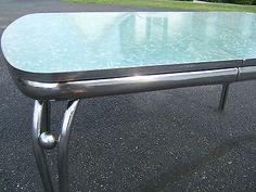 Vtg Retro Cracked Ice Formica ~RARE GREEN Chrome Diner Dinette Kitchen Table 5x3