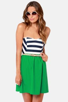 Striped and green dress