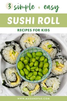 Learn how to make 3 easy sushi roll recipes for a fun kids meal or lunchbox recipe! The homemade sushi rolls are all healthy, vegetarian, and include filling ideas for a california roll, green dragon roll, and egg and edamame roll. Kids will love helping you make these easy sushi recipes, and they are a great sneaky hidden veggie recipe that everyone will love! #sushirecipes #kidssushi #lunchboxrecipes #healthykidsrecipes #vegetariansushi Sushi For Kids, Easy Snacks For Kids, Healthy Meals For Kids, Kids Meals, Healthy Snacks, Healthy Recipes, Vegetarian Sushi Recipes, Sushi Roll Recipes, Veggie Recipes