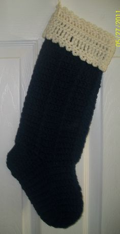 Navy Blue Crochet Christmas Stocking by NiftyNeedlework on Etsy, $15.99