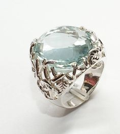 Silver ring with aquamarine. White gold finish 319$
