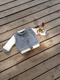 Knit Baby Sweater Hand Knitted Grey White Baby Cardigan Gray