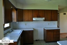 Laura's Kitchen Makeover BEFORE | hookedonhouses.net   Absolutely LOVE the After... What a difference!