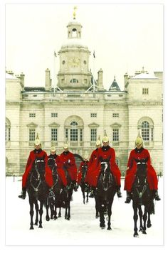 Horse Guards in winter, London